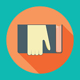 Hand with book. Knowledge, education flat concept.