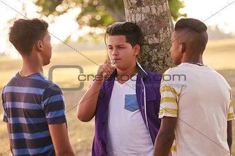 Group of Teenagers In Park Boy Smoking Electronic Cigarette