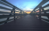 Wooden Boardwalk at sunset