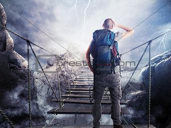 3D Rendering of explorer on unstable bridge