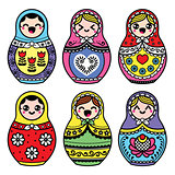 Kawaii cute Russian nesting doll - Matryoshka