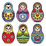 Kawaii cute Russian nesting doll - Matryoshka