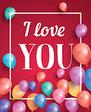 I love you card with flying balloons and white frame.