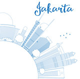 Outline Jakarta skyline with blue landmarks and copy space.