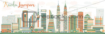 Abstract Kuala Lumpur Skyline with Color Buildings.