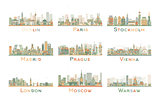 Set of 9 Abstract Europe City Skyline. Vector Illustration.