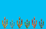 Mosaic cactus illustration on light blue background