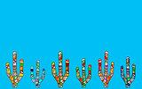 Mosaic cactus illustration on light blue background