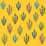 Mosaic cactus illustration on yellow background