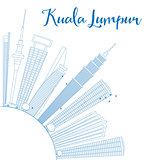 Outline Kuala Lumpur Skyline with Blue Buildings Copy Space.