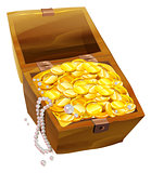 Open old chest with gold coins and pearls. Pirate Treasure Chest