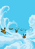 Butterflies Flying in the Blue Sky