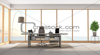 modern office overlooking the sea