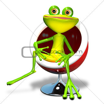 3d illustration of a frog in a red chair