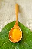 honey in a wooden spoon