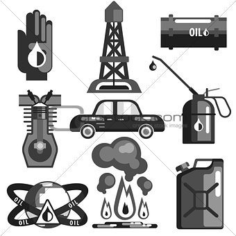 Oil And Gasoline Set Of Icons
