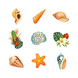 Realistic Tropical Icons Set