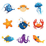 Colorful Marine Animals Set