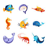 Colorful Sea Animals Set