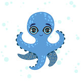 Blue Octopus Drawing