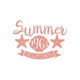Summer Holidays Pink Vintage Emblem