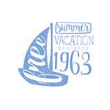 Summer Holidays Vintage Emblem With Sailing Boat