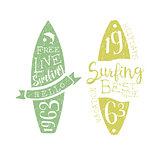 Summer Holidays Vintage Emblem With Surfboard