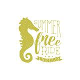 Summer Holydays Vintage Emblem With Seahorse