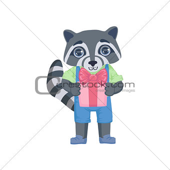Boy Raccoon With The Present