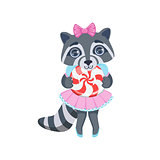 Girl Raccoon With Candy