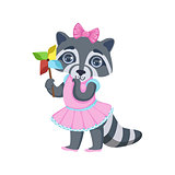 Girl Raccoon With Origami Toy