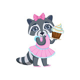 Girl Raccoon With Cupcake