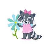 Girl Raccoon With Giant Flower