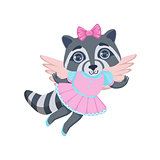 Girl Raccoon With Wings
