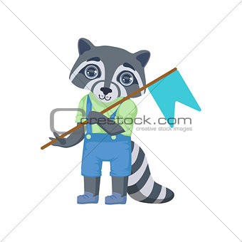 Boy Raccoon With Flag