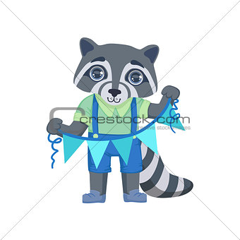 Boy Raccoon With Garland
