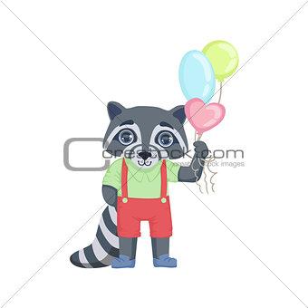Boy Raccoon With Balloons