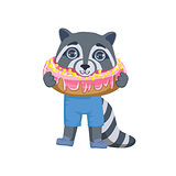 Boy Raccoon With Giant Doughnut