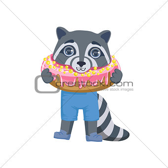 Boy Raccoon With Giant Doughnut