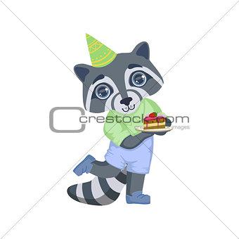 Boy Raccoon With Birthday Cake