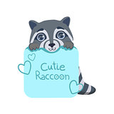 Boy Raccoon With Paper Sign