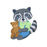 Boy Raccoon With Teddy Bear