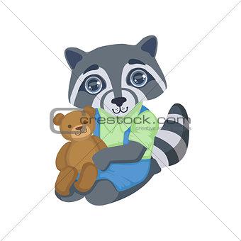 Boy Raccoon With Teddy Bear