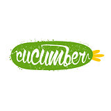 Cucumber Name Of Vegetable Written In Its Silhouette