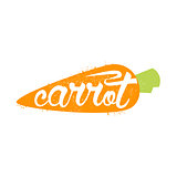 Carrot Name Of Vegetable Written In Its Silhouette