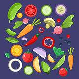 Vegetable Salad Ingredients Collection