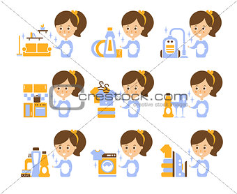 Cleaning Service Girl And Finished Tasks Set Of Illustrations