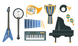 Music Instruments Realistic Drawings Set