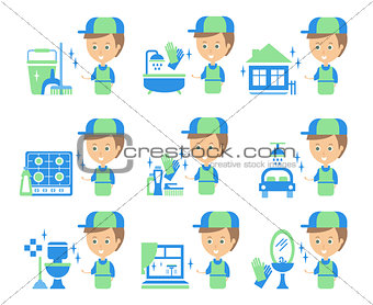 Cleaning Service Man And Finished Tasks Set Of Illustrations