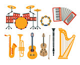 Music Instruments Realistic Drawings Collection